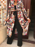 Print Wide Lapel Belted Cardigan