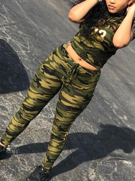 Camouflage Letters Print Casual Suit
