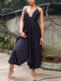 Casual Solid Backless V-neck Jumpsuit