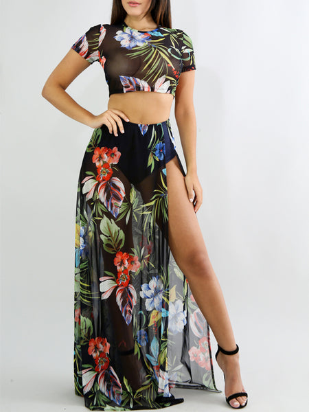 Mesh Split Print Two Pieces Culottes Dress
