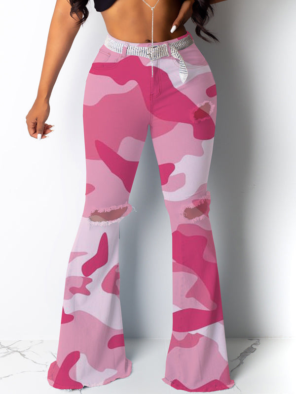 Hole Camouflage Printed Flared Pants