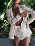 Sexy Lace Solid Hollow Out Two-Piece Outfits