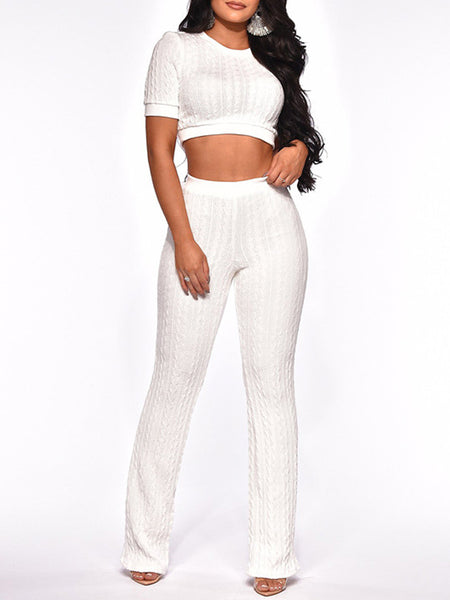 Casual Knit Solid Short Sleeve Two Piece Sets