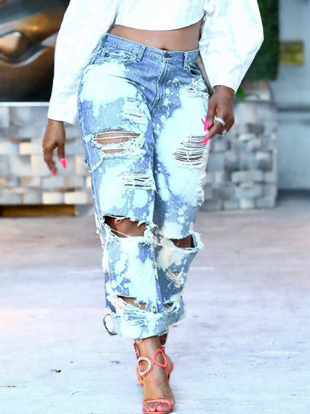 Plus Size Worn Out Hole Distressed Straight Jeans