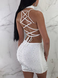 Sexy Solid Rhinestone Decorative Strapped See-through Three Pieces Mini Dress