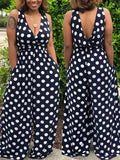 Casual V-neck Sleeveless Polka Dot Jumpsuit