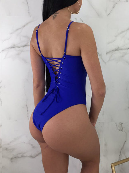 Sexy Solid Strapped One Piece Swimwear