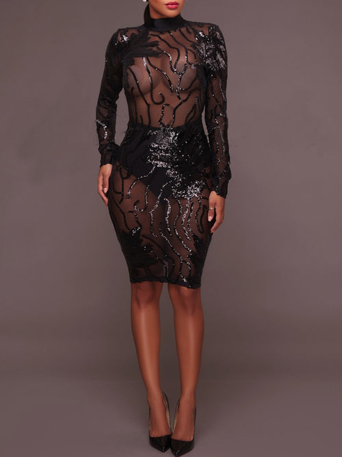 Solid Sexy Backless Sequined See Through Midi Dress