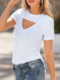 Solid Casual Short Sleeves Hollow Out T-shirt
