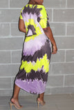 Tongue Print Tie Dye Batwing Sleeve Maxi Dress