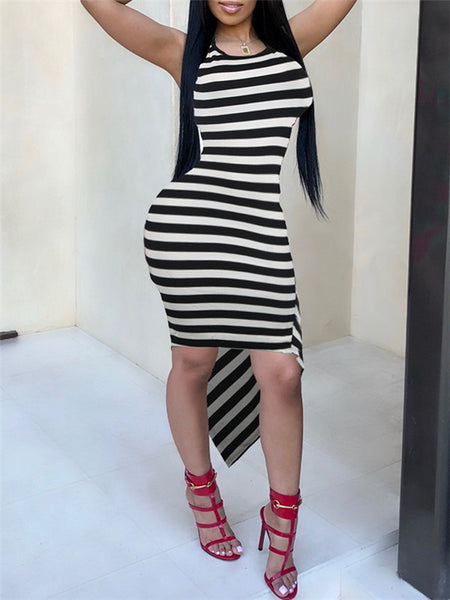 Asymmetric Hem Sleeveless Stripe Print Dress