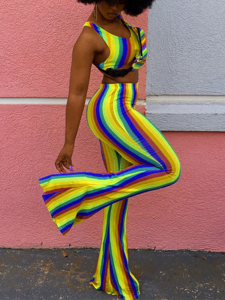 Rainbow Stripe Printed Two-Piece Outfits
