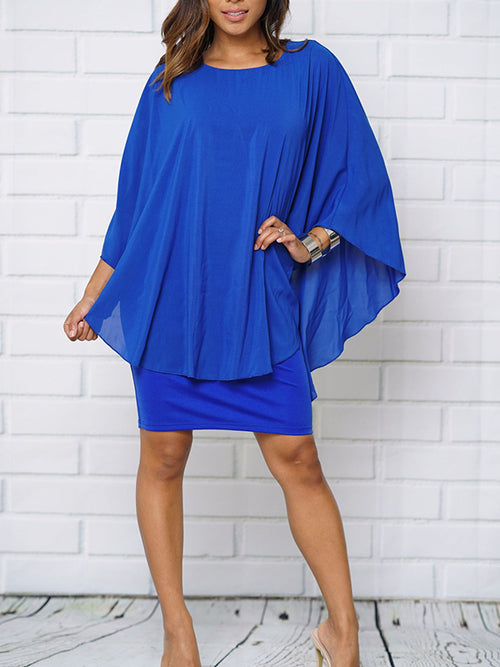 Solid Color Chiffon Batwing Sleeve Dress