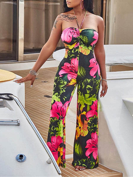 Halter Mixed Color Flower Printed Wide Leg Jumpsuit