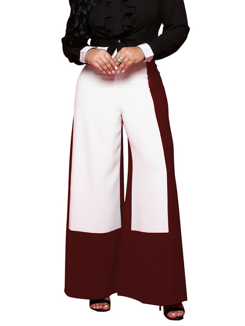 Color Block Back Zipper Casual Wide Leg Pants