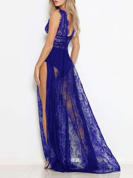 Deep V-Neck Lace Net Yarn Sleeveless Maxi Dress