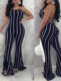 Stripe Sleeveless Flare Pants Jumpsuit