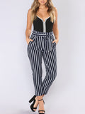 Plus Size Stripe Printed Belted Casual Pants