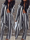Stripe Long Sleeve Casual Cardigan & Pants