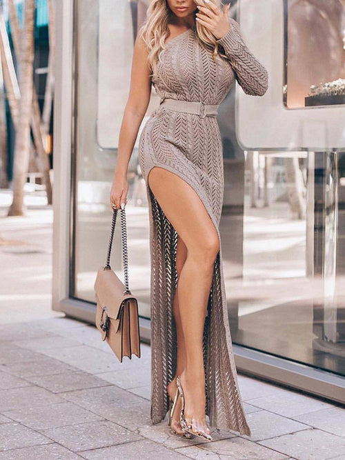 Knitted High Slit Off One Shoulder Solid Color Casual Dress