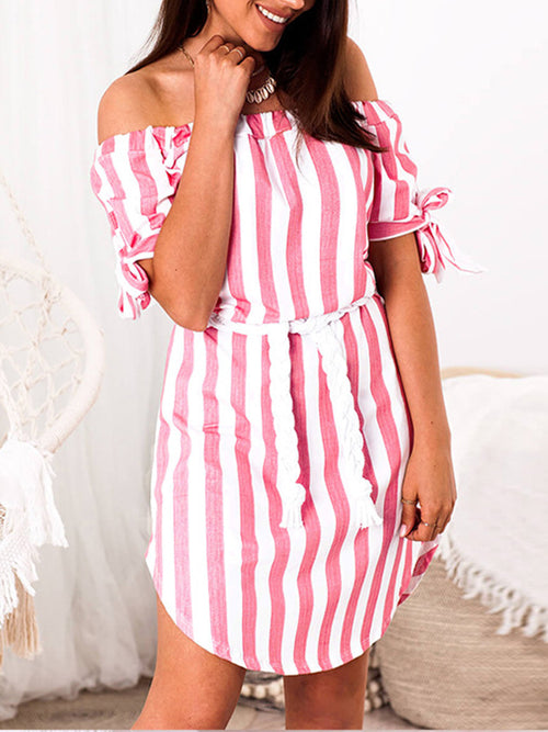 Stripe Off The Shoulder Short Sleeve Midi Dress