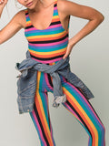 Rainbow Color Sleeveless Jumpsuit