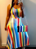Rainbow Color Stripe Sleeveless Maxi Dress