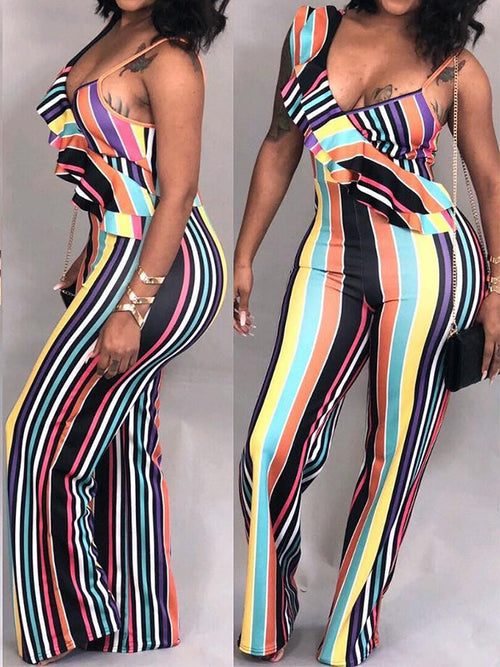 Mixed Color Stripe Sleeveless Ruffle Jumpsuit