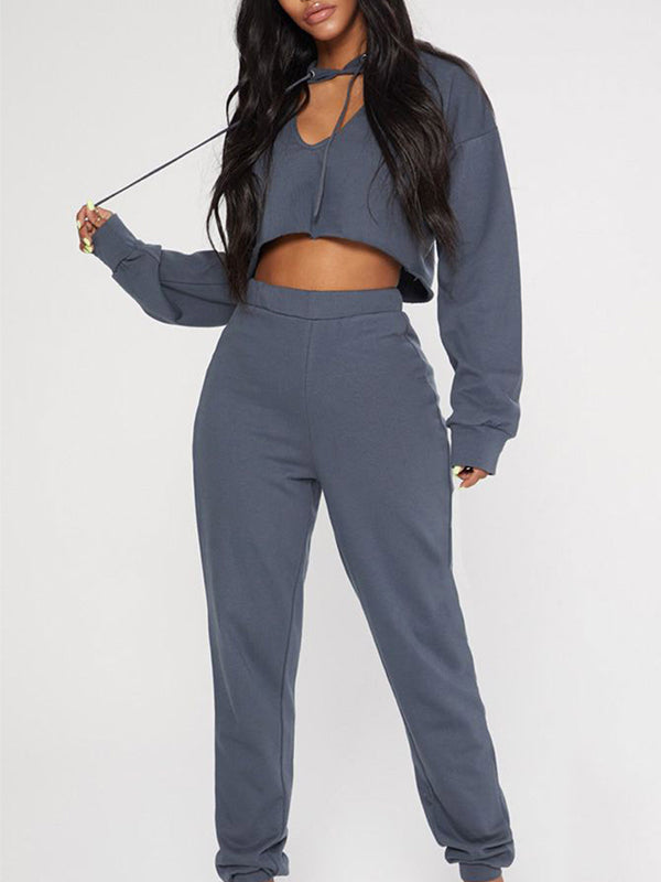 Solid Color Long Sleeve Hollow Out Jumpsuit