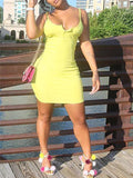 Spaghetti Straps Solid Color Mini Dress
