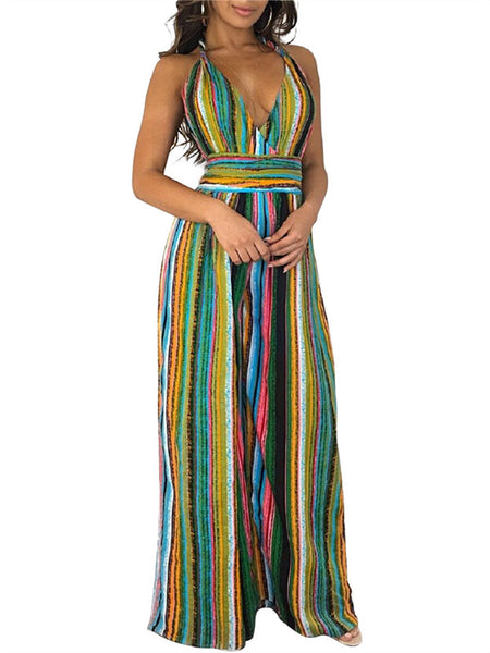 Fashion V-neck Long Sleeves Stripe Print Maxi Dress