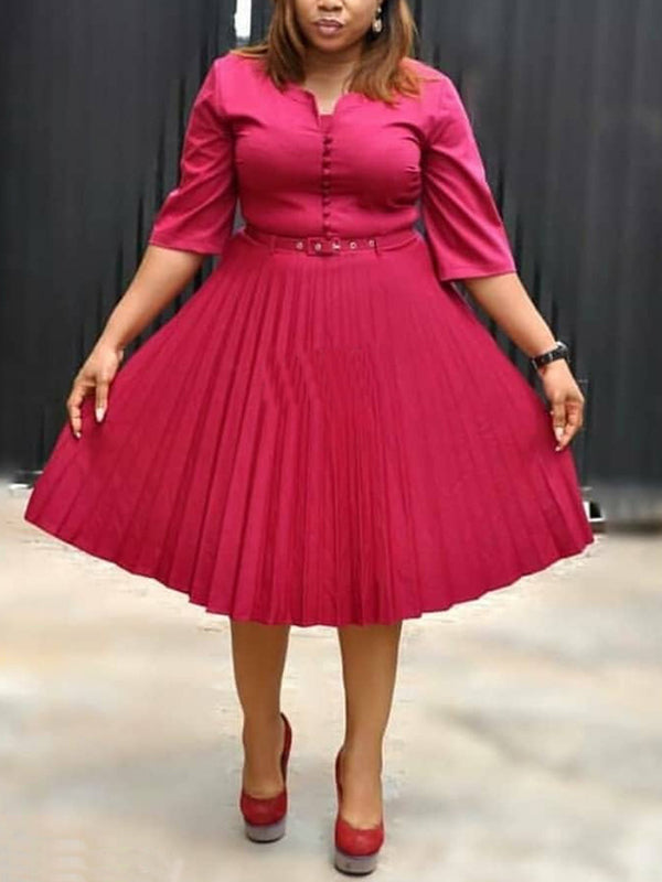 Plus Size Solid Color Half Sleeve Round Neck Pleated Dress