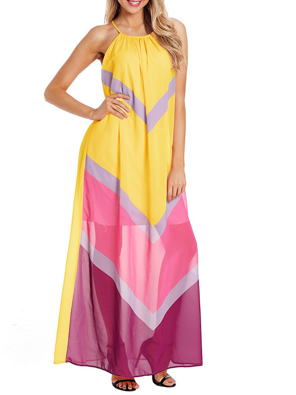 Chiffon Color Block Sleeveless Maxi Dress