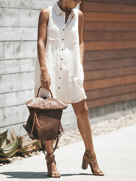 Solid Color Pocket Sleeveless Button Dress