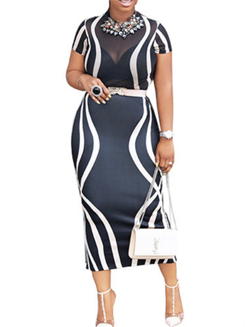 Semi Sheer Printed Short Sleeve Midi Dress