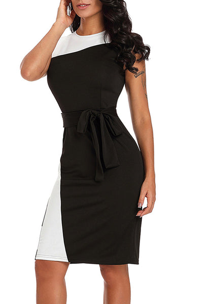 Belted Color Block Sleeveless Round Neck Pencil Dress