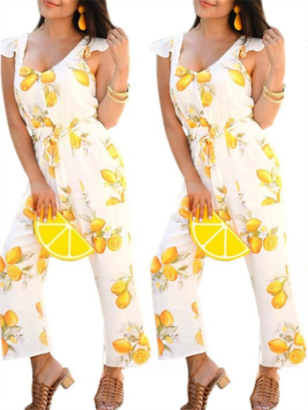 Lemon Print Ruffled Sleeveless Belted Jumpsuit