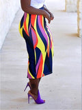 Color Block Casual Bodycon Midi Skirt