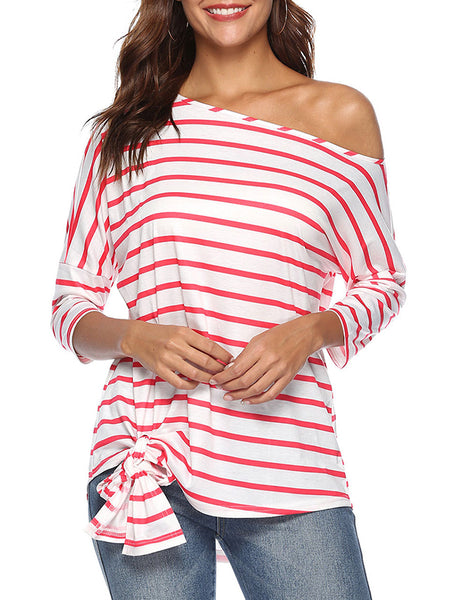 Skew Neck Stripe Long Sleeve Belted Blouse
