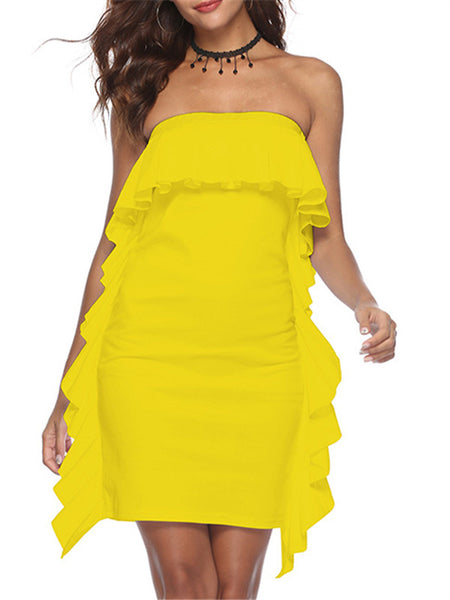 Solid Color Strapless Ruffled Mini Dress