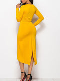 Plus Size Solid Color Long Sleeve Round Neck High Low Dress