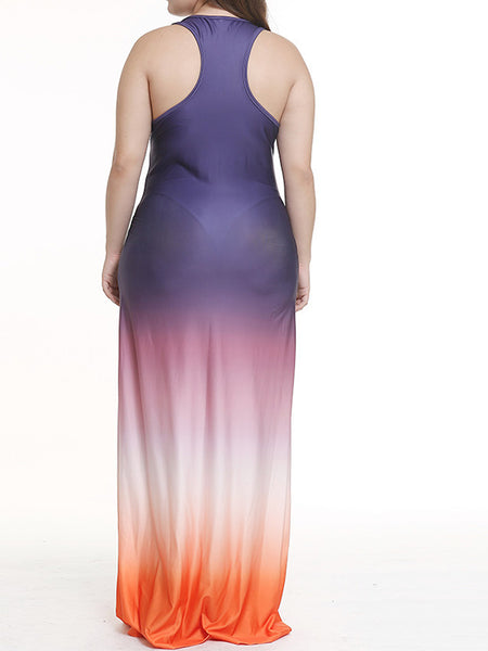 Plus Size Gradient Color Sleeveless Maxi Dress