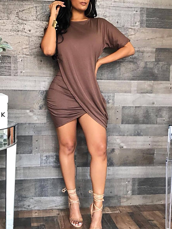 Plus Size Solid Color Short Sleeve Asymmetric Midi Dress