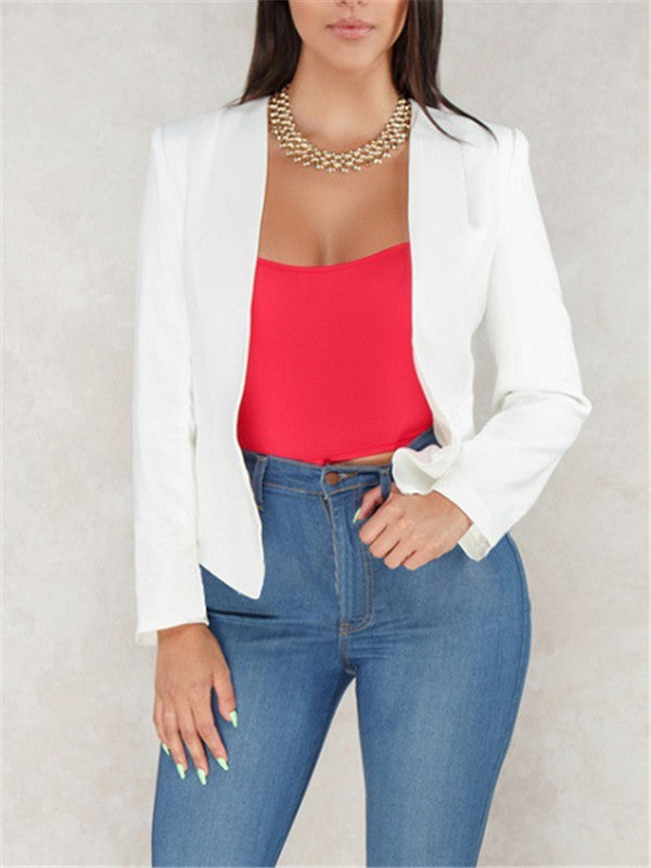 1c1254fdb595 Solid Color Open Front Long Sleeve Blazer – ForeverShe