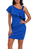 Solid Color Off One Shoulder Ruffle Midi Dress