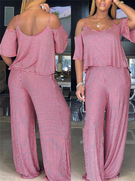 Stripe Print Off the Shoulder Casual Jumpsuit
