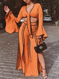 Flare Sleeve Tie Up Slit Two Piece Sets