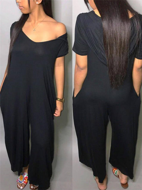 Short Sleeve Wide Leg Hooded Jumpsuit