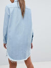 Denim Turndown Collar Long Sleeve Button Pocket Blouse