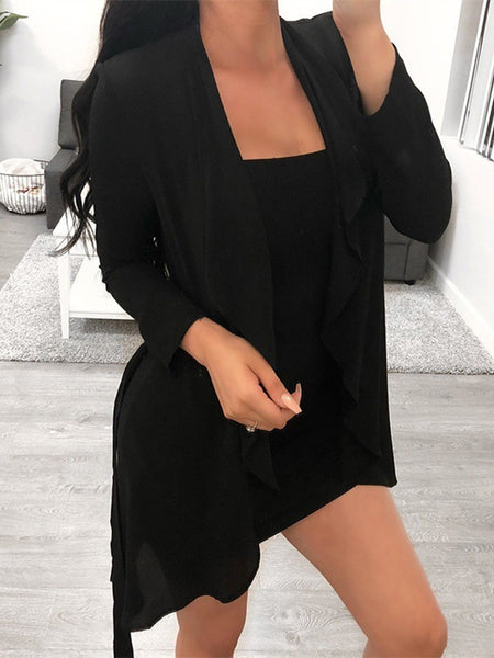 Long Sleeve Open Front Solid Color Trench Coat